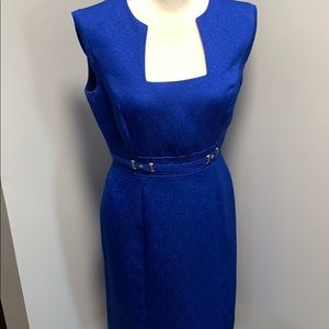 Women's Tahari Blue Fitted Dress